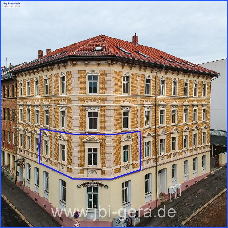 Ansicht Haus mit Lage der Wohnung